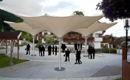 Wandelbare Überdachung, Kirchplatz Going