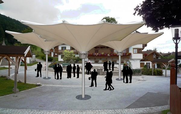Wandelbare Überdachung, Kirchplatz Going, 2016